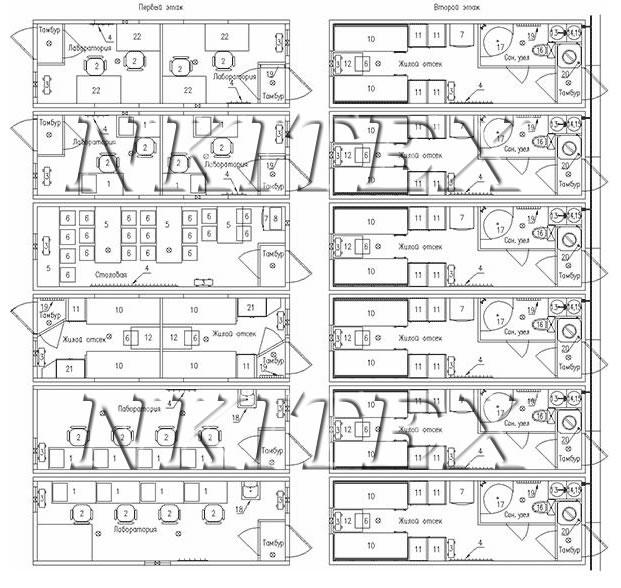 План-схема модульного здания